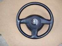 Seat Leon Mk1. Leather steering wheel and airbag.