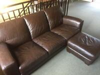 Brown leather sofa plus foot stall