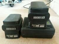 Erbauer 24v 2ah battery two and charger