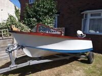 13.6ft vintage Albatross runabout with tralier and 20hp Johnson outboard engine £1100 ovno