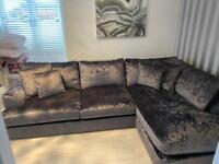 Next Charcoal Velvet LHF corner sofa