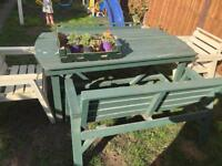 Garden table chairs and benches set, very sturdy!