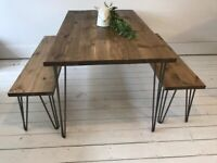 ARTEMIS Handmade Hairpin Leg Dining Table with Two Hairpin Benches Industrial London Free Delivery