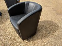 2 black office leather chairs