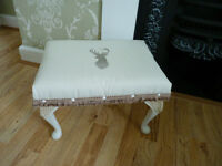 Reupholstered Foot Stool Shabby Chic