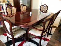 Italian Designer Mahogany Dining Table, Chairs and Dresser