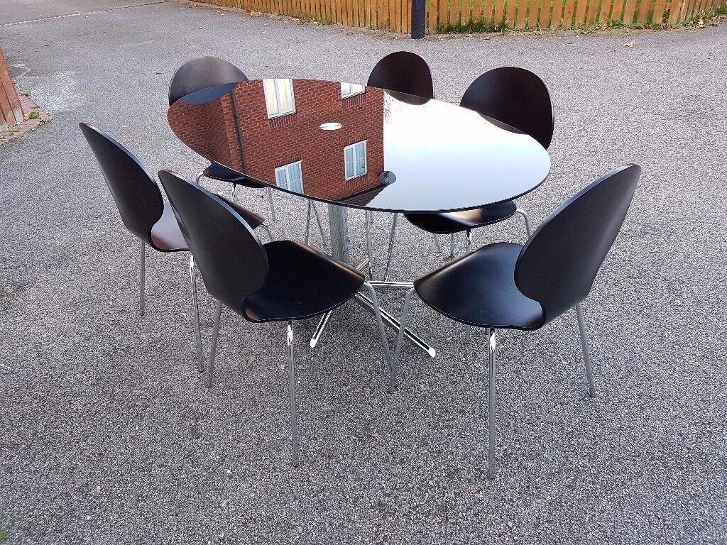 Dwell Black Glass & Chrome Dining Table & 6 Matching Chairs FREE DELIVERY 067