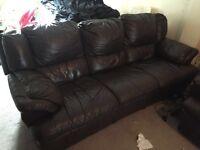 Italian leather 3 seater reclining sofa