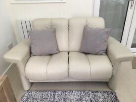 Stressless 2 Seater Cream Leather Sofa (Legend Collection)