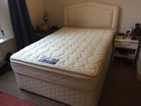 Double bed (small double) - Dreams headboard, divan base and Sealy mattress