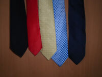 5 TIES, LIGHT BLUE, YELLOW, RED, BLACK and NAVY BLUE, HARDLY EVER WORN. £1 EACH