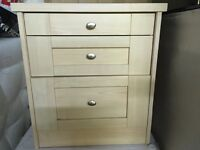 Pair of 3 drawer bedside cabinets