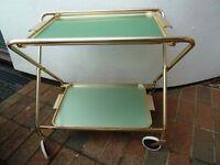 Retro anodised aluminium tea trolley with two trays