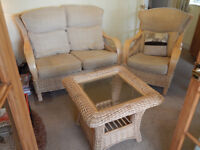 Wicker sofa ,armchair and coffee table.