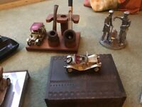 Collectibles, car models, pipe holder, pen holder and miscellany