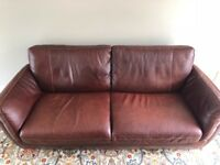 Italian Leather 3 Seat Sofa and Chair