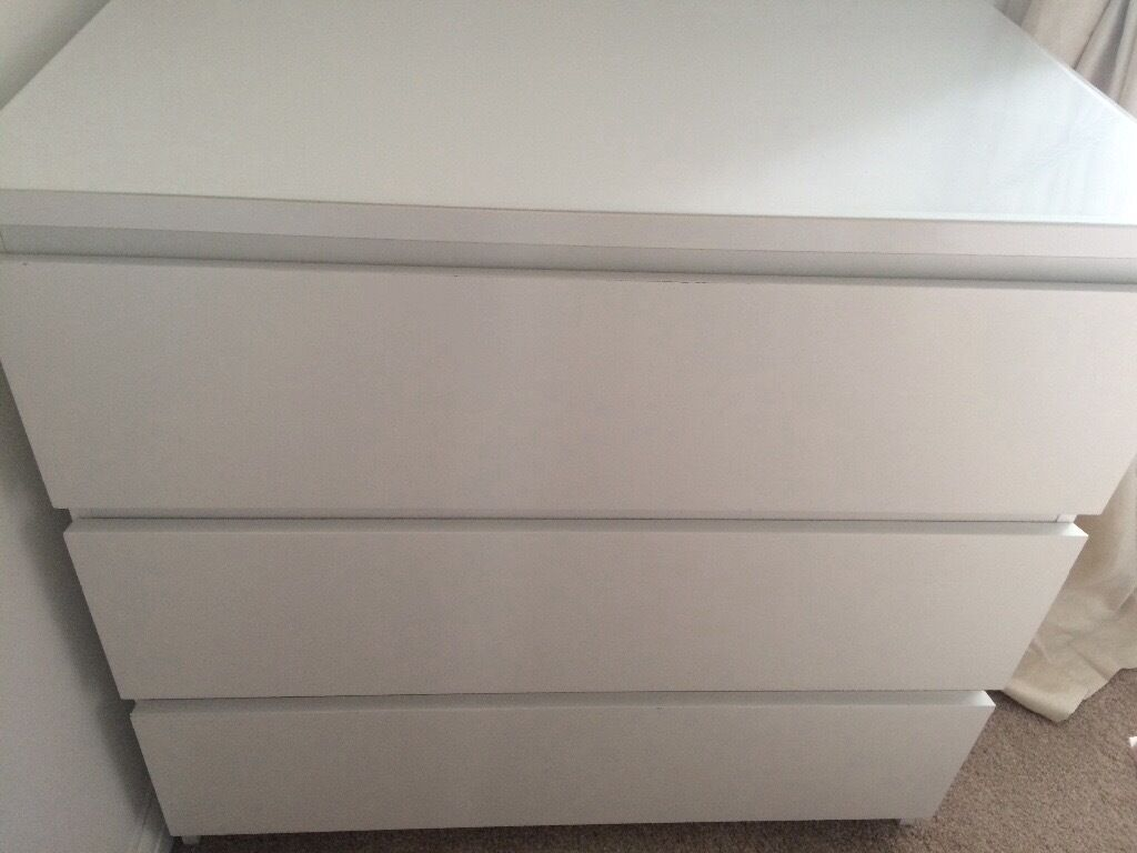 Ikea malm chest of 3 drawers with white glass top in - Malm kommode glas ...