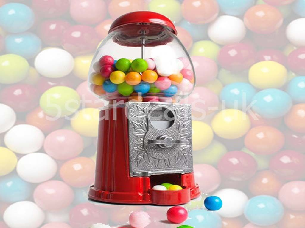 Gumball Machine Dispenser Bank With Bubble Gum Coin