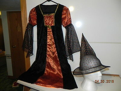 Pre-Owned Costume: Witch Black/ orange and orange glitter/ has hat Girls - Black And Orange Witch Costume