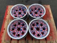 "4x101.6 7x13"" Classic Mini Dished Wheels Used Custom Minilite Alloys"