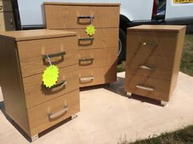 Chest of drawers, bedside tables