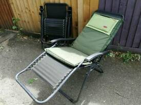Pair of textoline sun loungers with new cushions