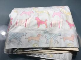 Colourful Dog patterned curtains (single pair)