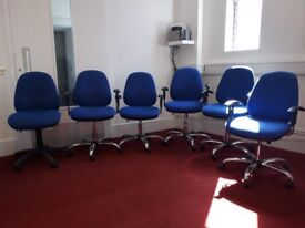 6 blue office chairs: for sale together or separately