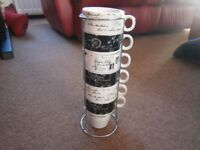 SET OF 6 MUGS (UNUSED) ON A STAND - FRENCH THEME - £5 - BANGOR AREA - NO SUNDAY CALLERS
