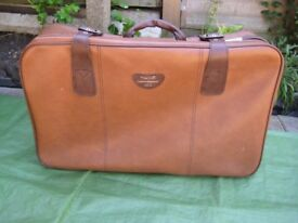 Brown Medium Constellation Plastic Leather Look Suitcase