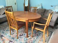 Retro / Vintage Teak Oval Extending Dining Room Table & 4 Matching Chairs See descr.for measurements