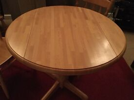 John Lewis Drop leaf table and 2 carver chairs. 6 shelf CD cabinet