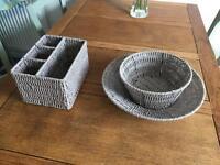 3 piece set of grey wicker baskets