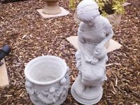 Garden planters and statues