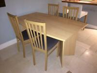 Laminate beech effect dining table & 4 chairs