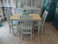 Charming chabby chic farmhouse dining table with 4 chairs