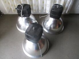SET OF THREE BRUSHED CHROME INDUSTRIAL CELIING LIGHTS