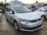 1 OWNER 2013 VW SHARAN S BLUEMOTION TDI 7 SEATER MPV 44K MILES FINANCE 204 PER MONTH