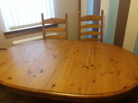 Dining table seats 6 but Can extend to 8 with 6 dining chairs reasonable condition