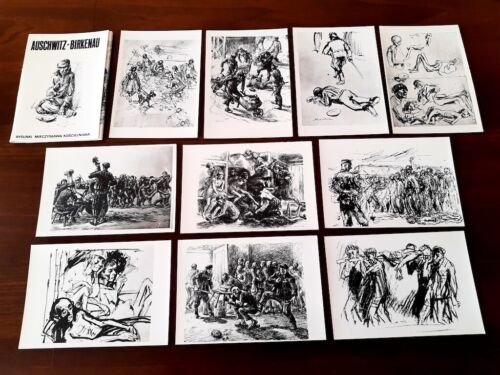 CONCENTRATION CAMP AUSCHWITZ ORIGINAL DRAWINGS MADE BY INMATES HOLOCAUST JEW KZ