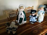 4 Porcelain dolls, one Leonardo