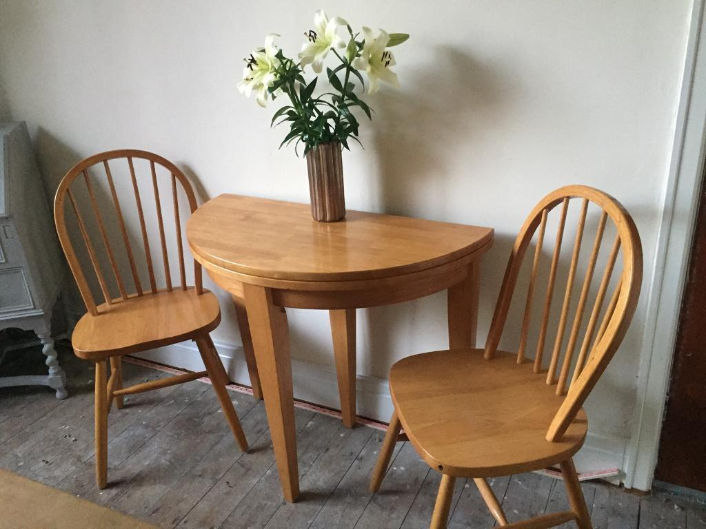 Half Moon Fold Out Dining Table Compact Consort Extending Plus Two Chairs