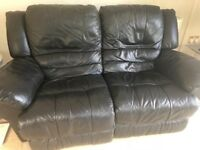 2 x 2 seater electric reclining Black Leather Sofas