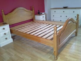 """Solid Pine, Double 4'6"""" Bedstead, with matress."""