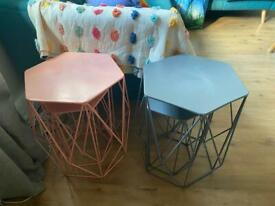 Two metal nest tables pink and great from marks and Spencers