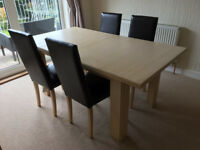 Extending Dining Table (Limed Oak Effect) & 4 Leather Effect Chairs