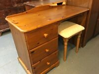PINE DRESSING TABLE DRAWERS AND A STOOL