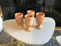 Set of four handmade ceramic wine goblets