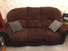 Burgundy/damson colour 3 seater sofa