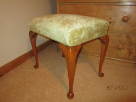 Piano/Dressing Table Stool, vintage type with cabriolet legs